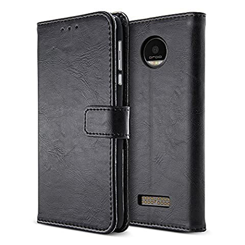 BELK Motorola Moto Z Play Droid Case, Retro Vintage Leather Wallet Case for Motorola Moto Z Play Droid 2016, Classic Magnetic Snap Folio Flip Card Cover with Stand Function - Black