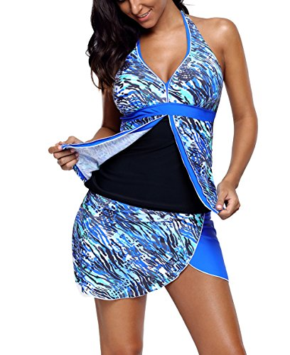 FIYOTE Women Print Tankini Tops Two Piece Swimsuit With Skirted Bottom XX-Large Size Blue (Swim Bathing Tankini Suit)