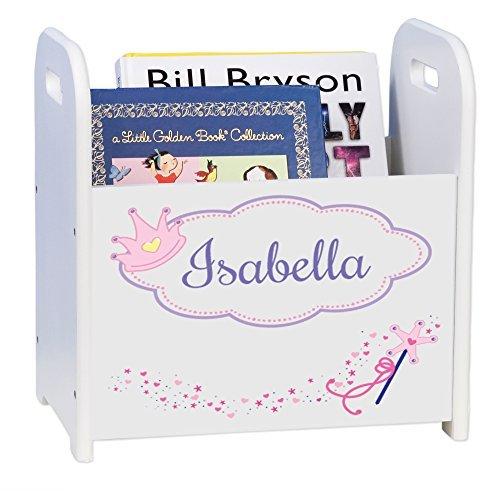 MyBambino Personalized Fairy Princess White Book Caddy and Rack
