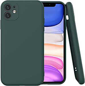 Hisri TPU Silicone case Compatible for iPhone 11 6.1 inch,Full Covered Include Camera Protection Shockproof Gel Rubber Cover Case (Pine Green)