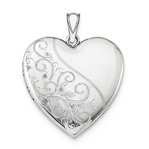 Sterling Silver Rhodium-plated 24mm Scrolled Heart Family -