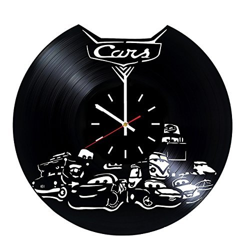 Disney Cars Collection Vinyl Record Wall Clock - Exciting Guest Room Decor idea for Children, Kids, Teens - Lightning McQueen - Unique Art Design ()