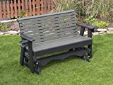 4FT-DARK GRAY-POLY LUMBER ROLL BACK Porch GLIDER with Cupholder arms Heavy Duty EVERLASTING PolyTuf HDPE - MADE IN USA - AMISH CRAFTED