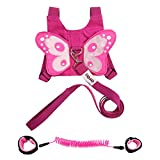 EPLAZA Toddler Walking Safety Butterfly Belt Harness Bag Backpack with Leash + 1 Anti Lost Wrist Link Strap (A)