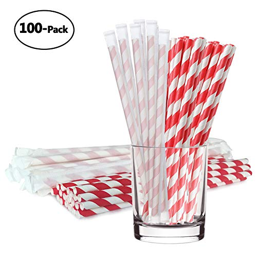 Biodegradable Paper Straws Environment-friendly Individually Wrapped Drinking Straws 100pcs for Wedding Birthday Celebrations Holiday Party Decorations