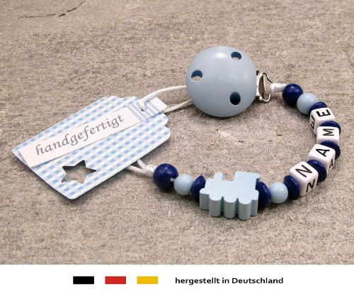 Personalised Baby DUMMY CLIP | Pacifier Holder with preffered name – boys motif blue locomotive | Beststeller from Germany kleinerStorch