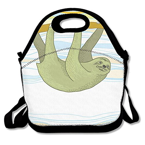 BCOWBONEOWGDF Adjustable Shoulder Strap Insulated Stylish Tropical Habitat Jungle Mammal On Branch Oceanic Wavy Exotic Nature Thermal/Cooler Lunch Bag For Office School Kids Students Men Women Gifts ()