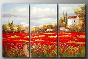 italian tuscany red poppy field landscape abstract wall canvas art sets painting for home decoration 100