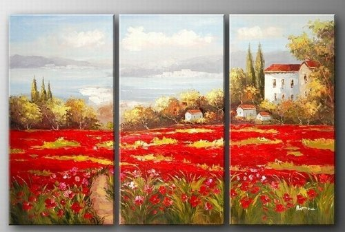 Italian Tuscany Red Poppy Field Landscape Abstract Wall Canvas Art Sets Painting for Home Decoration 100% Hand Painted Oil Painting Modern Art Large Canvas Wall Art 3 Piece Canvas Art Unstretch and No Frame