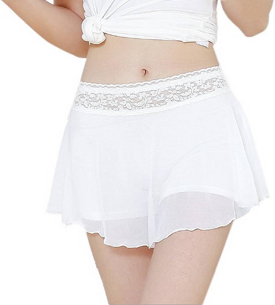COMVIP Mujeres Los pantalones debajo de la falda del cordón de las ...