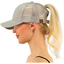 coco lee Trend Ponytail Baseball cap Messy High Bun Ponytail Adjustable Mesh Trucker Baseball Cap for Women Girl Men