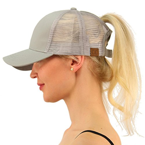 C.C Ponytail Messy Buns Trucker Ponycaps Plain Baseball Visor Cap Dad Hat Gray by C.C