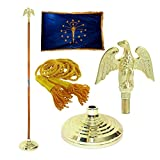 Indiana 3ft x 5ft Flag, Flagpole, Base, and Tassel (Metal Eagle, 8 Ft Oak Pole)