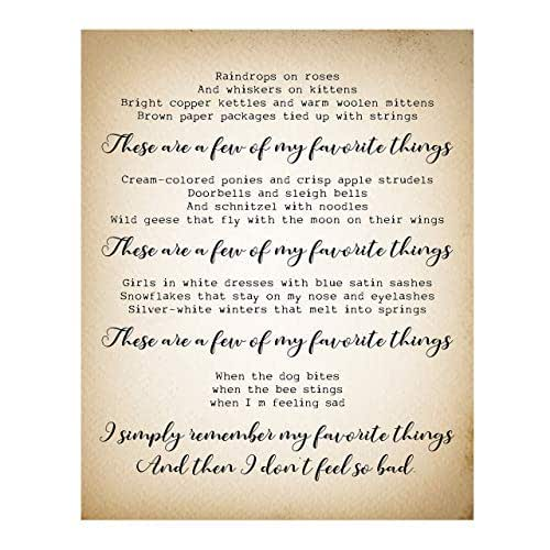 These Are A Few Of My Favorite Things Song Lyric Wall Art Sign 11 X 14 Typographic Musical Poster Print Ready To Frame Ideal For Home Office Studio School Perfect Nursery Kids Bedroom Decor Handmade