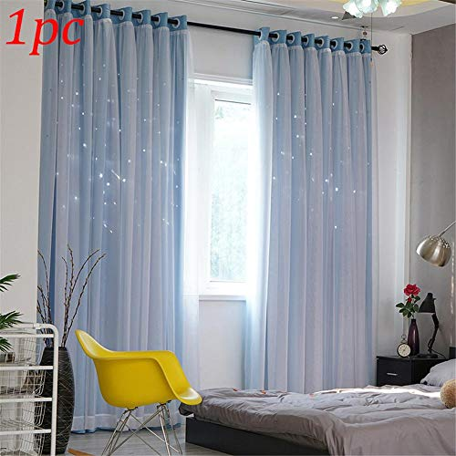 decwang Double-Layer Gauze Stars Curtains Hollowed Out Shading Starry Modern Bedroom Nordic Style Decorative Bay Window Curtain for Home Kitchen Living