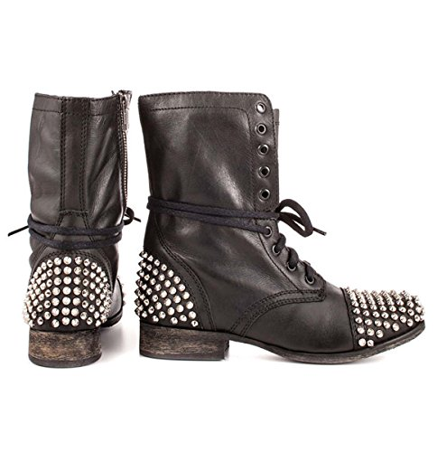 Schwarze Niet Frauen Schuhe Kurze Stiefel GONGFF Größe Boden Stiefeletten Flachen Große Frauen qBT5F
