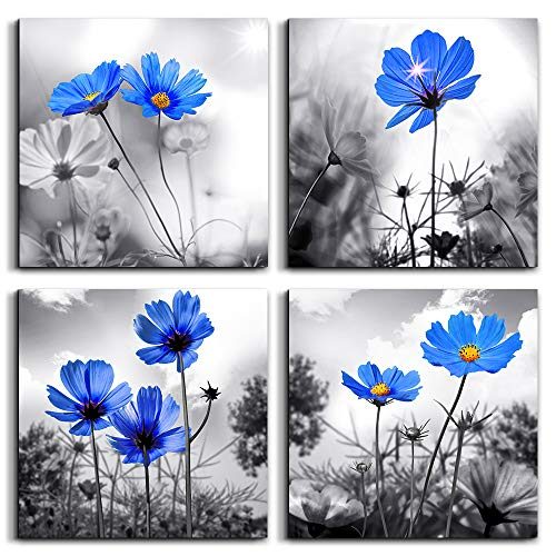 """wall art for living room Black and White cyan blue flower Big Canvas Prints Wall Decor Artwork 16"""" x 16"""" 4 Pieces Framed Black Border Ready to Hang for bedroom kitchen Home Decoration withoffice"""