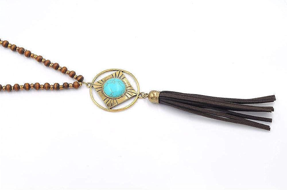 Pan•RUORA Collar De Mujer Estilo Étnico Collar De Cuero Colgante De Aleación Turquesa con Cuentas De Madera Collar De Borla
