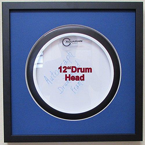 12 drum head display frame set black frame with matting easy mount dark blue matting arts. Black Bedroom Furniture Sets. Home Design Ideas