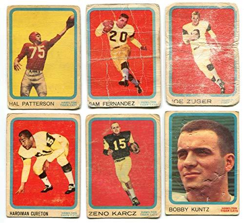 Topps 1963 CFL Hamilton Tiger-Cats Hal Patterson, Sam Fernandez, Joe Zuger, Hardiman Cureton, Zeno Karcz, Bobby Kuntz