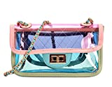 MILATA Bright Color Women's Transparent Cross Body Bag Summer Jelly PVC Clutch Purse Beach Bag (pink)