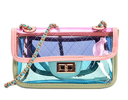 (MILATA Bright Color Women's Transparent Cross Body Bag Summer Jelly PVC Clutch Purse Beach Bag (pink))