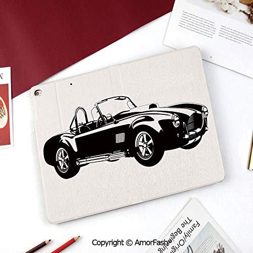 (Cars SM-T350 Case,Galaxy Tab A 8.0 2015 Model Case,Nice Cute Flip Stand Case PU Leather Folio Cover,Silhouette Classic Sport Car Ac Cobra Roadster American Antique Engine Autosport)