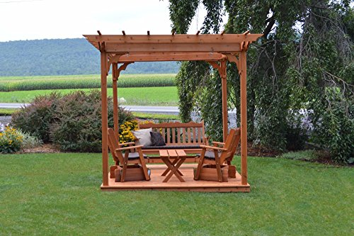 Bench Cedar Glider (A&L Furniture Co. 8' x 8' Amish-Made Cedar Pergola with Deck and 3pc Glider Lounge Set and Coffee Table, Cedar)