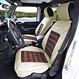 FH Group PU203102 Premium Leather Seat Leather Cushion Pad Seat Covers Beige Color w. Cooling Rosewood Beads-Fit Most Car, Truck, SUV, or Van