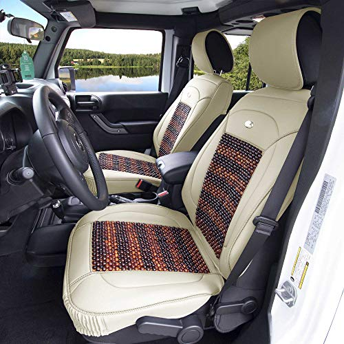 2000 Audi Cooling A4 (FH Group PU203BEIGE102 Premium Leather Cushion Pad Seat Covers Beige Color w. Cooling Rosewood Beads-Fit Most Car, Truck, SUV, or Van)