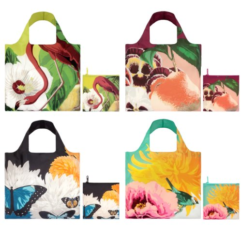 LOQI Botany Collection Pouch Reusable Bags, Multicolored, Set of 4