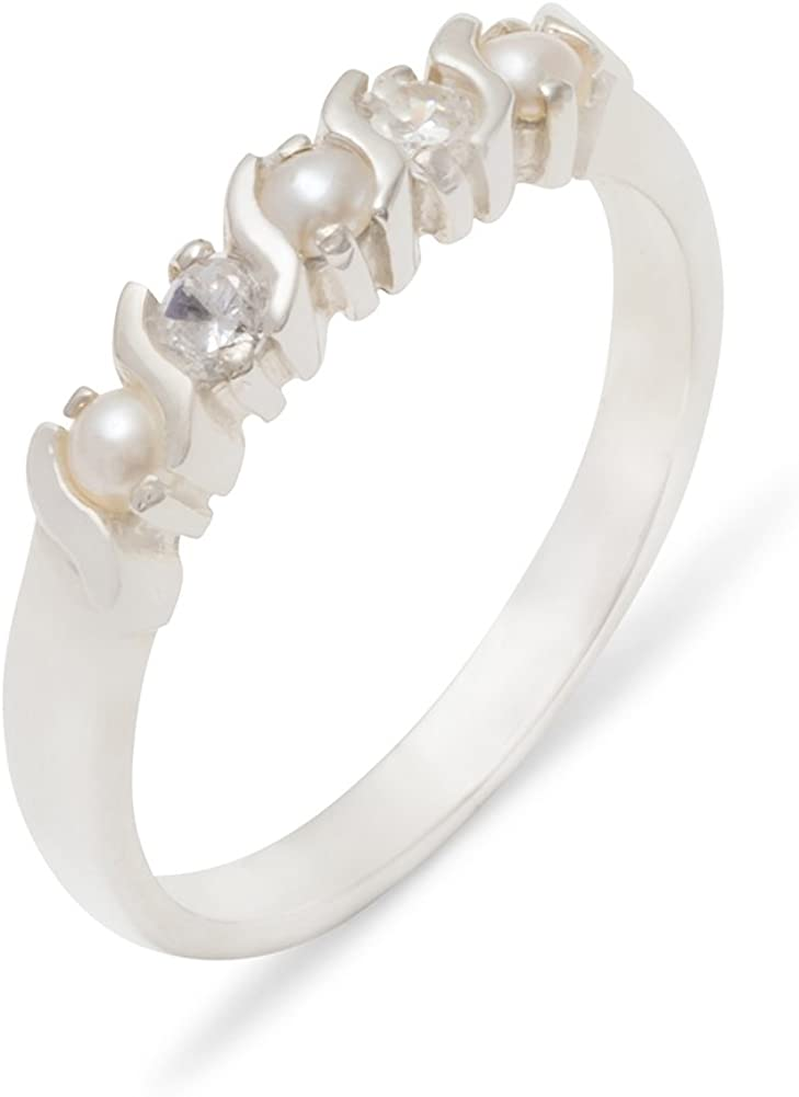Solid 925 Sterling Silver Cultured Pearl & Diamond Womens Eternity Band Ring (0.11 cttw, H-I Color, I2-I3 Clarity)