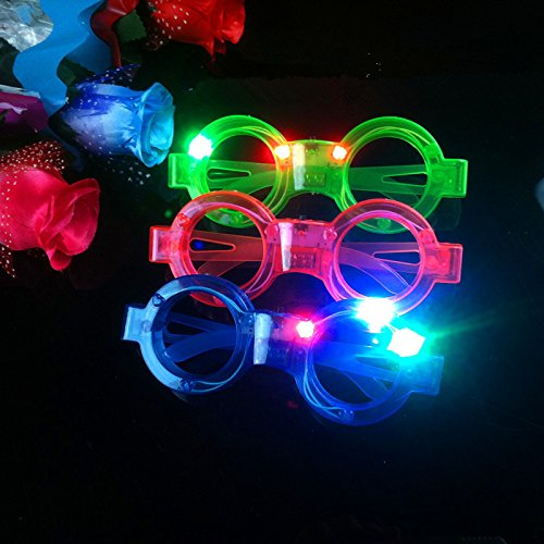 12ct LED Light Up Sunglasses - Flashing Multi Colored Led Glasses BEST PARTY FAVORS Light Up Flashing Glasses For Children (Round)