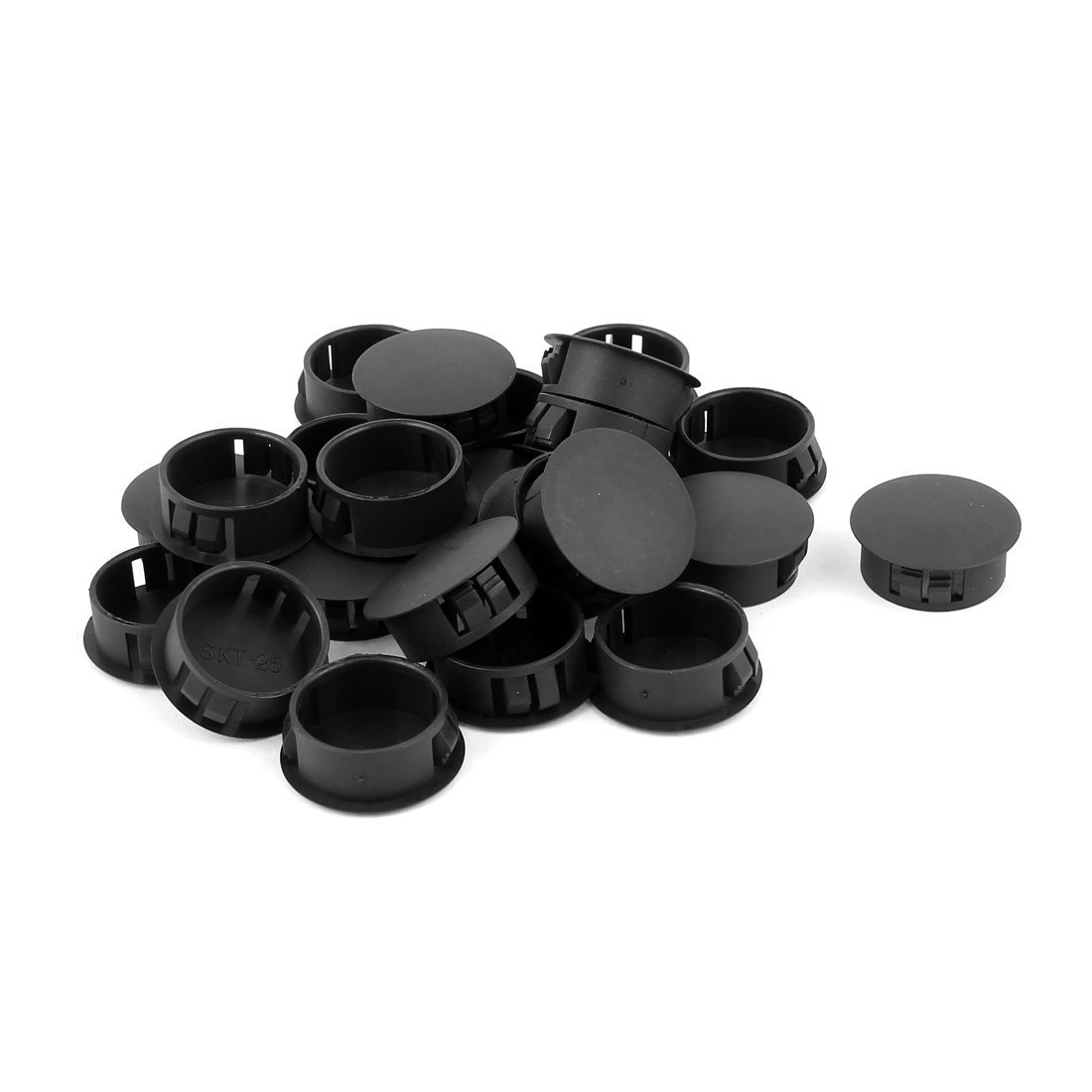 50 Pcs SKT-25 25mm Insulated Black Plastic Snap in Mount Domed Blank Lock Hole Cover Harness Fastener by MAJIAWEI (Image #1)
