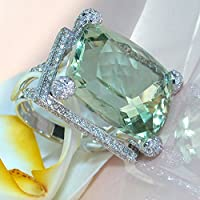 Elegant 925 Silver Prehnite & White Topaz Ring Wedding Engagement Jewelry Sz6-10 (7)