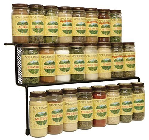 - KitchenEdge 2-Tier Elevated Spice Rack Storage Organizer, Holds 16 Spice Jars and Bottles, Width 15 Inches