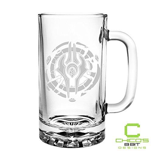 World of Warcraft - Draenei Crest - Etched Beer Mug