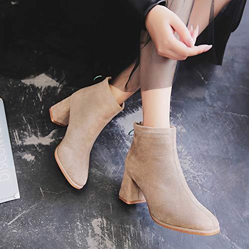 Shukun Stiefeletten Herbst und Winter High Heel Stiefel Martin Stiefel weiblich dick mit Wilden Rücken Reißverschluss Einzelne Stiefel Stiefel