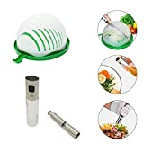 Practical Salad Sets Includes Fast Fresh Vegetables Fruits Salad Cutter Bowl,Food-grade Glass Oil Spray and One Hand Operated Thumb Push Stainless Steel Salt Mill (Salad Set)