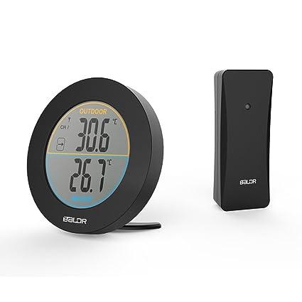 SXWY Termómetro Inalámbrico, Sensor De Termómetro Digital Redondo Interior/Exterior, Indicador De Tendencia