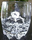 Crown Royal Glass Tumbler with Etched Logo and Starburst Base