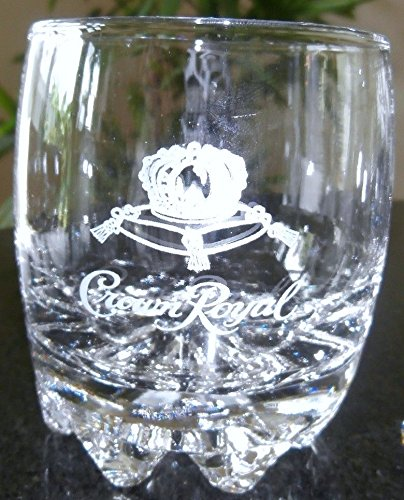 Crown Royal Glass Tumbler with Etched Logo and Starburst Base - Logo Etched Glass