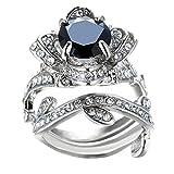 Challyhope Women's Vintage Elegant Rose Diamond Silver Plated Engagement Wedding Band Ring (Black, 7)