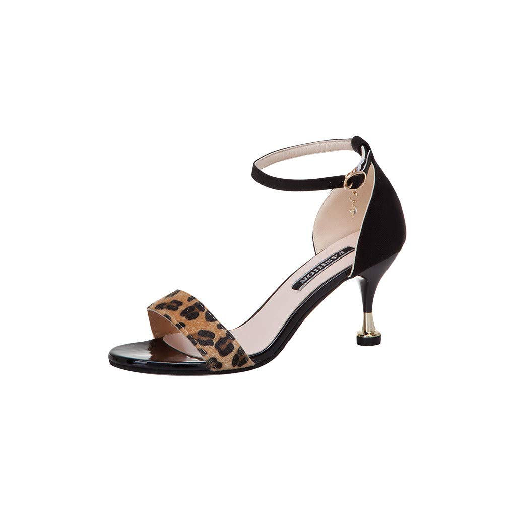 Randolly Women's Shoes Summer High Heel Sandals Flock Leopard Party Round Toe Shoes Black