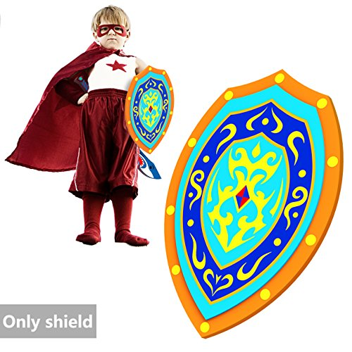 Toy Shield, Shield Toys For Kids Childrens Toys EVA Foam Shield 10'' × 15'' Pretend Play Costume Accessory Party Favors Prince Captain Knight Shield Pirate Warrior Weapons Toys For Boys Age 3/ 5/ 7/ 9 ()