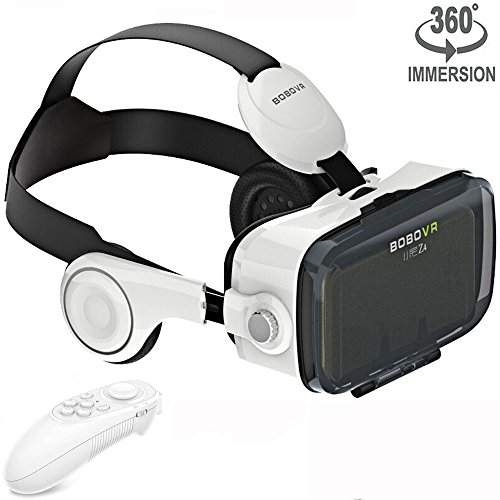VR Headset Virtual Reality Goggles with Build-in Stereo Headphones and Remote Controller Movie Games VR 3D Glasses fits the Myopia for iOS & Android & Windows Phones within 3.5-6.2 inches White