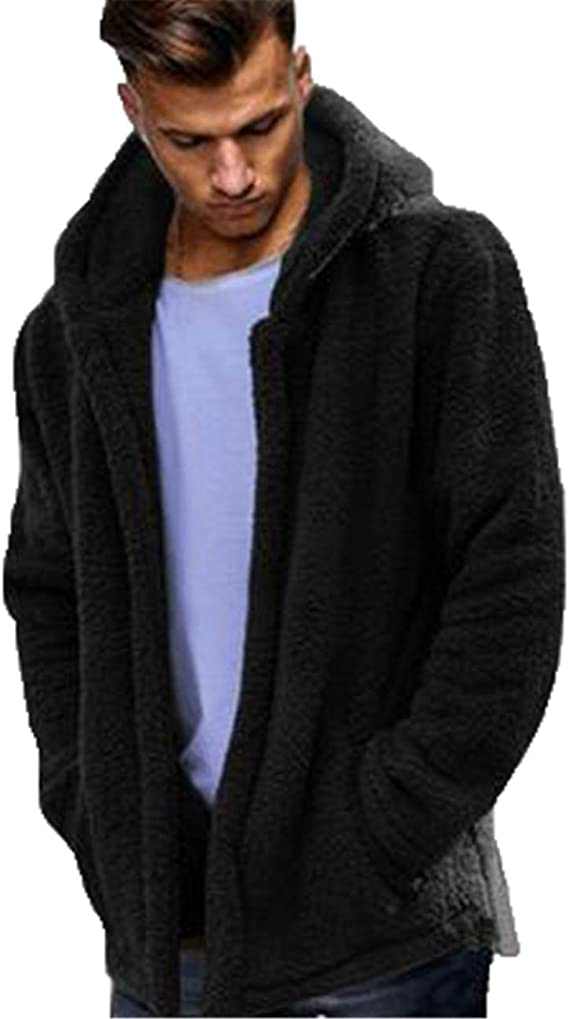 Bemawe Mens Fluffy Sherpa Fleece Hoodie Jacket Open Front Cardigan Coat with Pockets