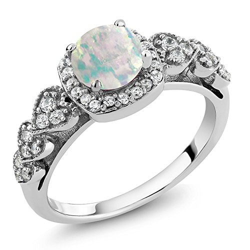 Opal White Ring - 925 Sterling Silver Cabochon White Simulated Opal Women's Ring (0.62 Ctw Round Available in size 5, 6, 7, 8, 9)