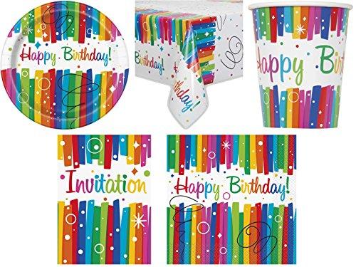 41 Teiliges Party Set Regenbogen Kindergeburtstag Geburtstag Party Fete  Feier 8 Teller, 8 Becher, 16 Servietten, 8 Einladungskarten, Tischdecke:  Amazon.de: ...