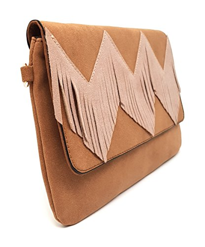 Beige Ante Bolso de Style Mer's Flecos Combinado con t0qT7w